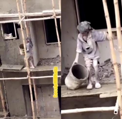 Little Boy Working As A Mason At A Building Site (Photos)