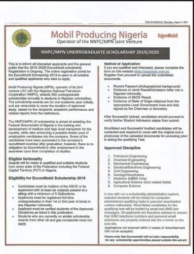 Apply for Nnpc/mobil 2019/2020 Undergraduates Scholarship.