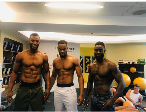 Mr Nigeria, Nelson Enwerem Poses With Mr Cameroon & Mr Kenya In Shirtless Photo