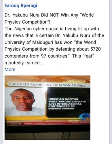 """SCAM! Dr. Yakubu Nura Did NOT Win Any """"World Physics Competition"""""""