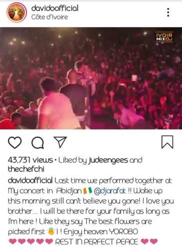 """DJ Arafat Death: Davido's Tribute """"I Will Be There For Your Family"""""""