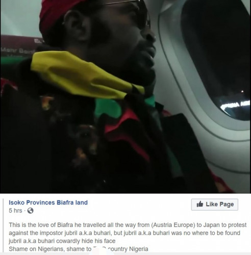 IPOB Member Traveled From Austria To Japan To Protest Against President Buhari