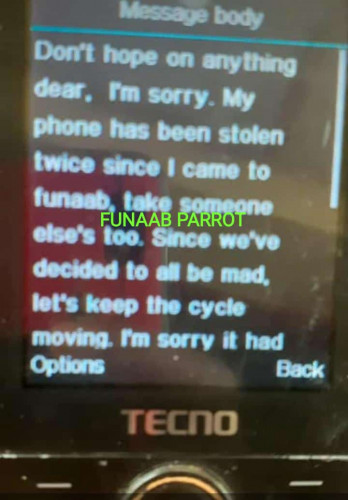 The Message A FUNAAB Student Received After Her Phone Got Stolen