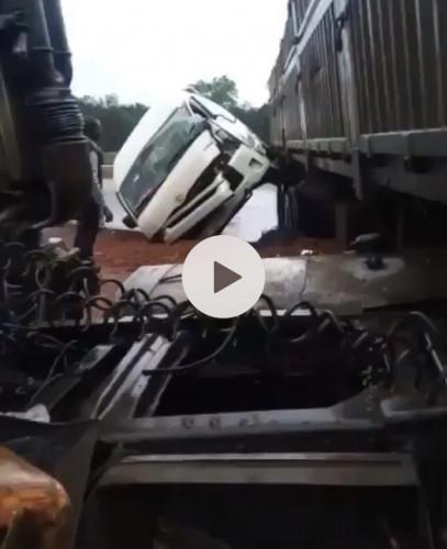 Dangote Truck Collides With 'God Is Good Motors' Bus At Auchi Junction