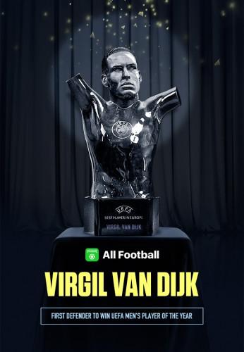 Van Dijk Beats Messi & CR7 To UEFA Men's Player Of The Year