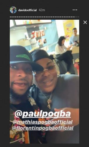 Davido Meets Yeo Pogba, Paul Pogba's Mother (Photos)