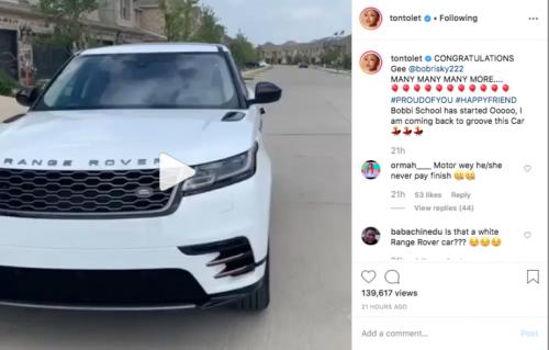Tonto Dikeh congratulates Bobrisky for buying a new car