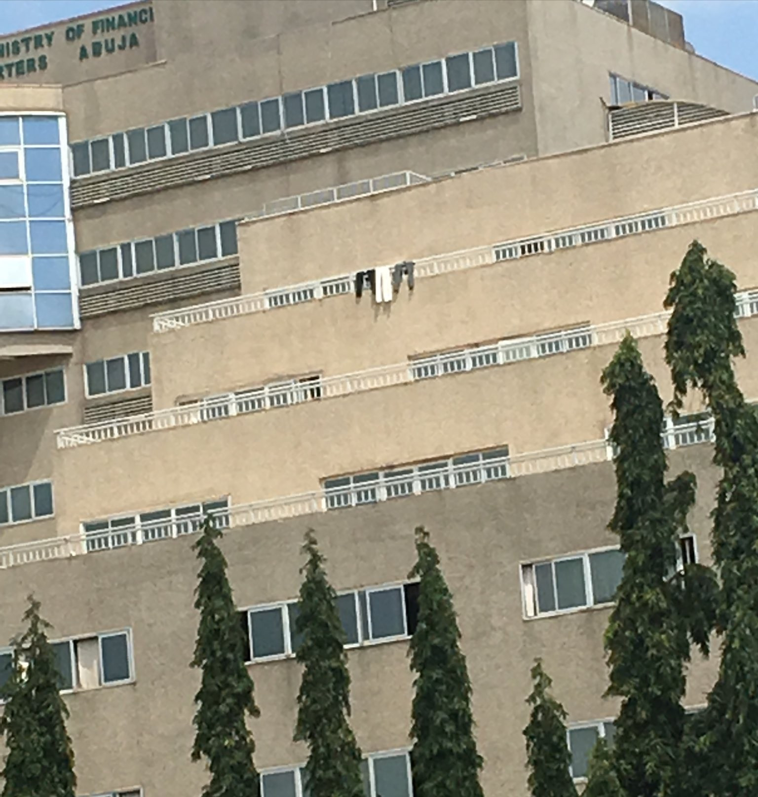 Clothes spread on rail at the Ministry of Finance building elicits criticisms