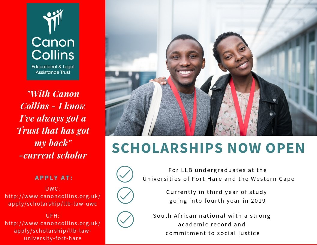 Canon Collins Trust LLB Law Scholarships 2019/2020