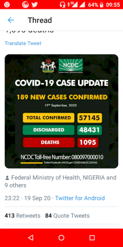 Nigeria cases now57,154 with 1095 deaths as of 19th september 2020