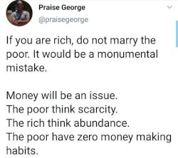 If you're rich, do not marry the poor